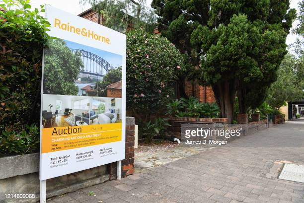 Auction signs outside properties in the suburb of North Sydney on March 25, 2020 in Sydney, Australia. Prime Minister Scott Morrison announced...