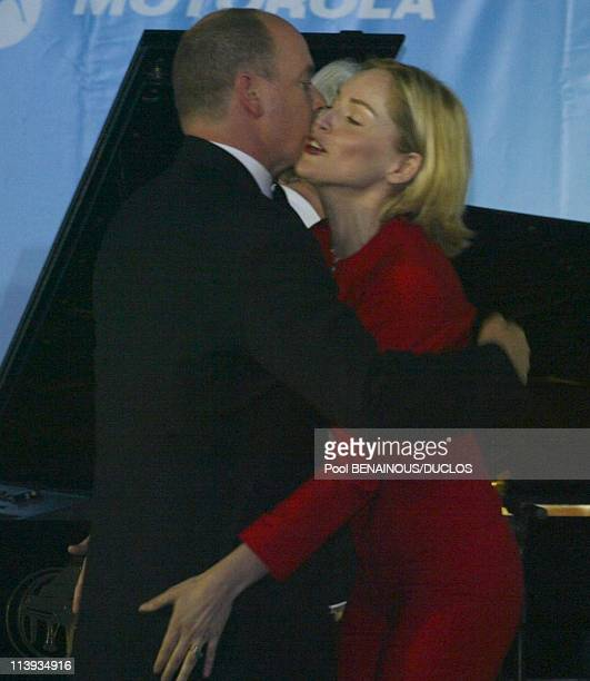 AMFAR auction to benefit the American foundation for aids research In Mougins France On May 23 2002Prince Albert of Monaco with Sharon Stone