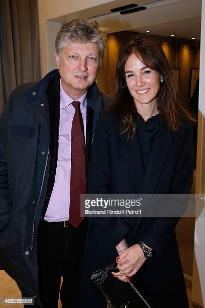 Auctioneer at Artcurial Francois Tajan and his wife Veronique attend Lorenz Baumer presents his personal collection of drawings on April 1 2015...