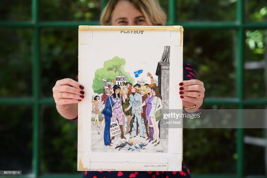 Auction Pre-view Of Smilby's Cartoons For Playboy And Punch : News Photo