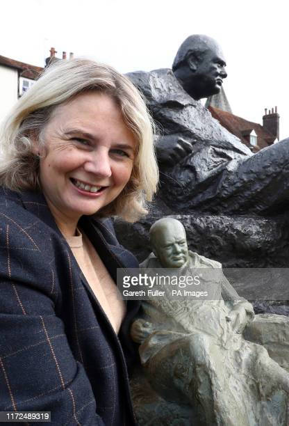 Auctioneer Catherine Southon with a model of the statue by Oscar Nemon of Sir Winston Churchill that stands on the Green at Westerham, Kent, and...