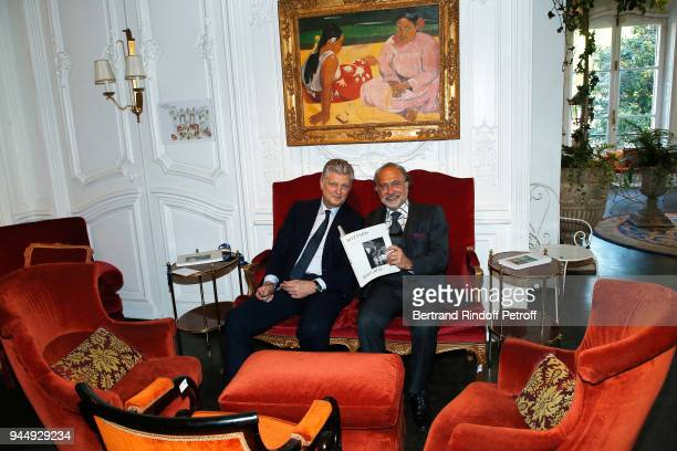 Auctioneer Francois Tajan and Olivier Dassault Once Upon a Time The Ritz Paris Auction Coktail Party at Artcurial on April 11 2018 in Paris France
