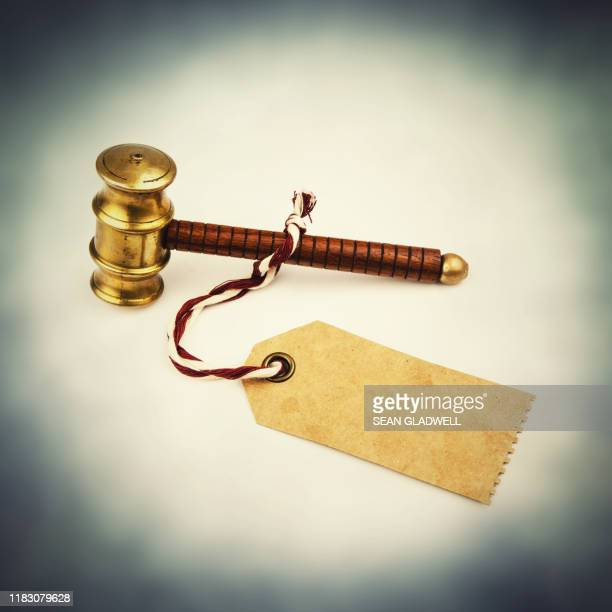 auctioneer hammer and label - bid stock pictures, royalty-free photos & images