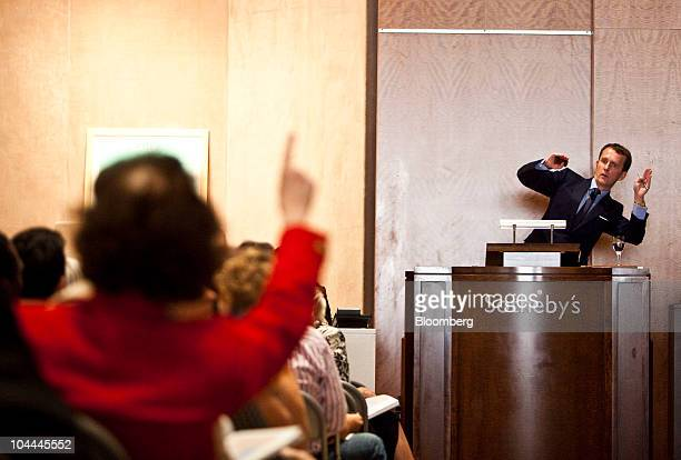 Auctioneer Tobias Meyer takes a bid during an auction of Lehman Brother's artwork collection at Sotheby's in New York US on Saturday Sept 25 2010...
