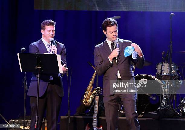 Auctioneer Zack Krone and actor Bill Hader speak onstage during Hilarity for Charity's annual variety show James Franco's Bar Mitzvah benefiting the...
