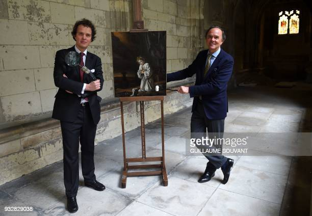 Auctioneers Aymeric and Philippe Rouillac unveil an unknown and unpublished painting by French painters Le Nain Brothers in Tours on March 16 2018 /...