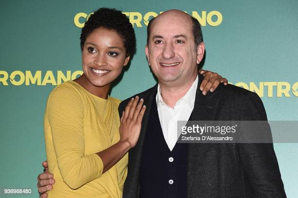 Aude Legastelois and Antonio Albanese attend a photocall for 'Contromano' on March 23 2018 in Milan Italy