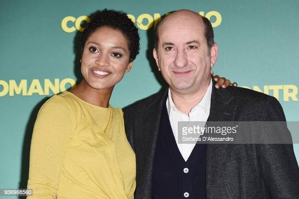 Aude Legastelois and Antonio Albanese attend a photocall for 'Contromano' on March 23, 2018 in Milan, Italy.