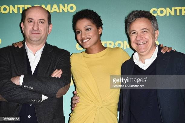 Aude Legastelois, Antonio Albanese and producer Paolo Del Brocco attend a photocall for 'Contromano' on March 23, 2018 in Milan, Italy.