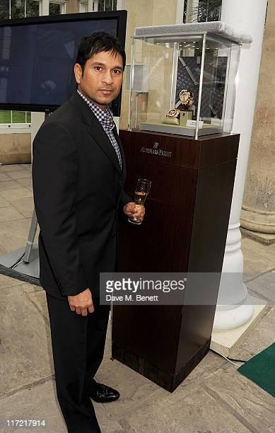Audemars Piguet Ambassador Sachin Tendulkar attends the launch of the Audemars Piguet Royal Oak Offshore 44mm at the Salon Prive in Syon Park on June...
