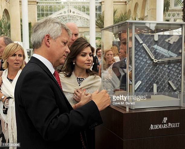 Audemars Piguet CEO Gary Mead and Kanika Chandok attend the launch of the Audemars Piguet Royal Oak Offshore 44mm at the Salon Prive in Syon Park on...
