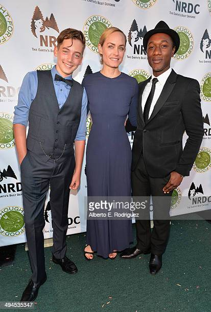 Auden McCaw actress Amber Valletta and recording artist Aloe Blacc attend NDRC Food For Thought Benefit celebrating safe and sustainable eating on...