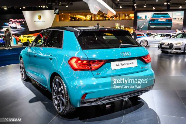 Audi A1 Sportback compact crossover SUB on display at Brussels Expo on January 9, 2020 in Brussels, Belgium. The A1 is available as sportback compact...