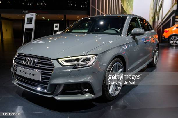 Audi A3 Sportback 40 TFSI e compact 5-door hatchback car on display at Brussels Expo on January 9, 2020 in Brussels, Belgium.