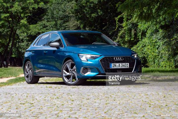 audi a3 sportback on a street - audi stock pictures, royalty-free photos & images