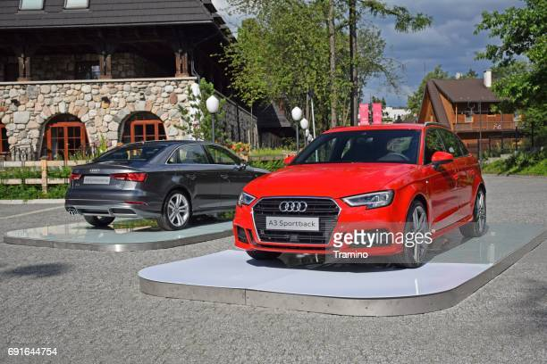 audi a3 vehicles on the exposition - audi stock pictures, royalty-free photos & images