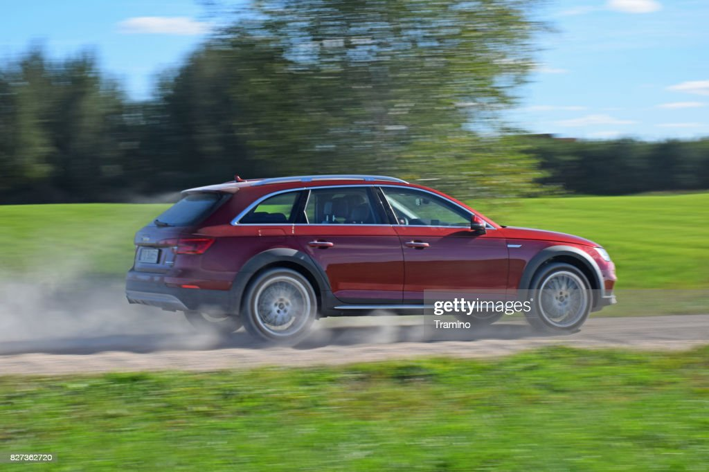 Audi A4 allroad in motion : Stock Photo