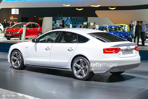 audi a5 sportback rear view - audi stock pictures, royalty-free photos & images