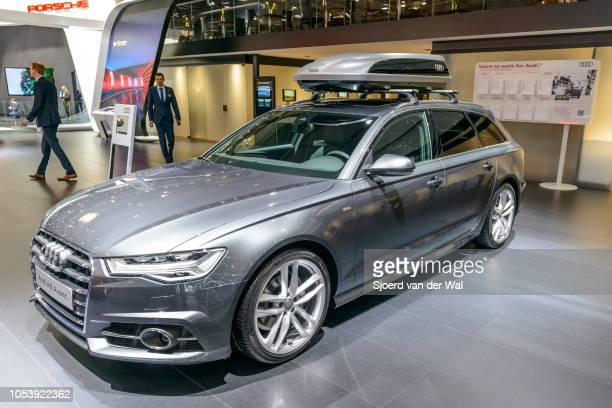 Audi A6 Avant Quattro luxury executive station wagon with a skibox mounted on the roof on display at Brussels Expo on January 13 2017 in Brussels...