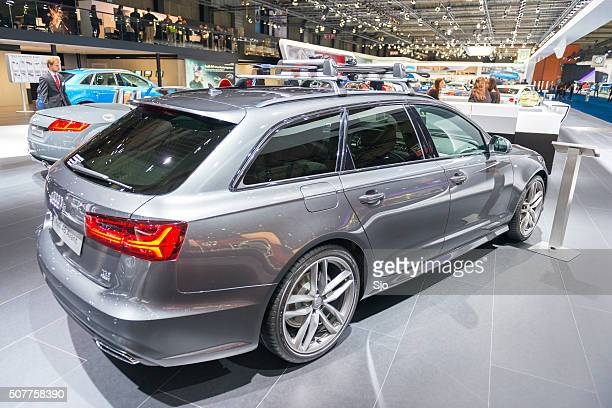 audi a6 avant station wagon rear view - audi a6 avant stock photos and pictures