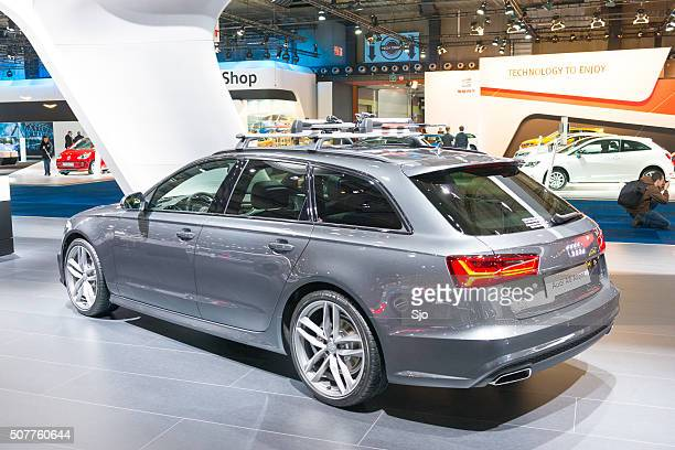 audi a6 avant station wagon rear view - audi a6 stock photos and pictures