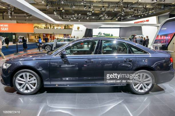 Audi A6 Berline luxury sedan side view on display at Brussels Expo on January 13 2017 in Brussels Belgium The Audi A6 is available with various...