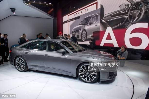 Audi A6 is displayed at the 88th Geneva International Motor Show on March 6 2018 in Geneva Switzerland Global automakers are converging on the show...