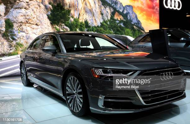 Audi A8 is on display at the 111th Annual Chicago Auto Show at McCormick Place in Chicago Illinois on February 7 2019