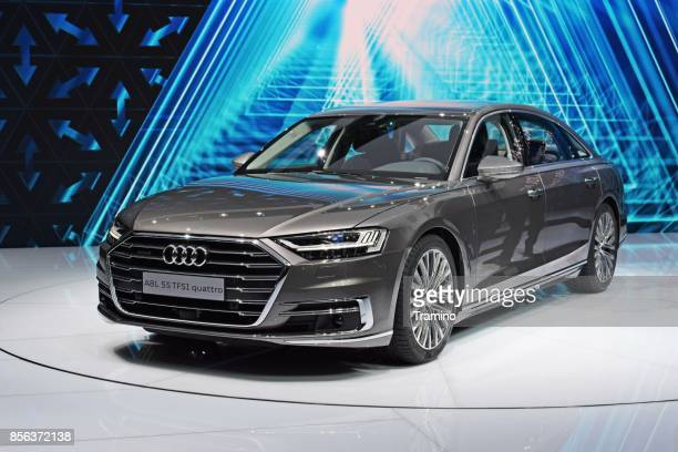 audi a8 on the motor show - audi stock pictures, royalty-free photos & images