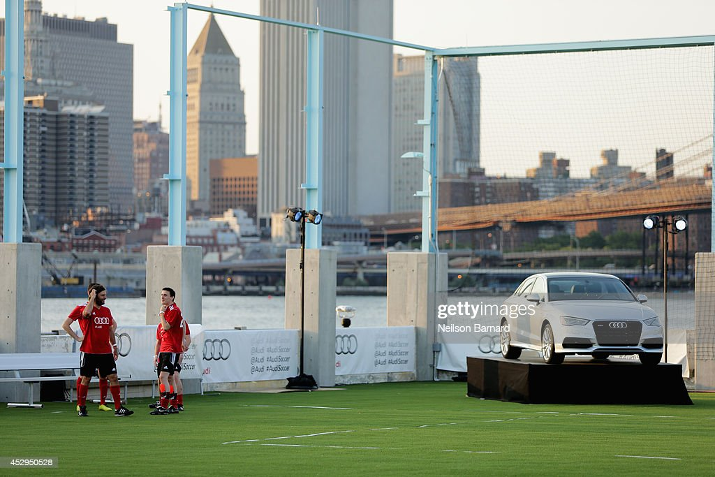 Audi and FC Bayern Munich host the Audi Soccer Pick-Up Game at Pier 2 at Brooklyn Bridge Park on July 30, 2014 in Brooklyn borough of New York City.