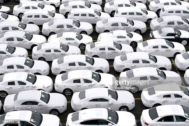 Audi cars destined for export overseas stand parked and waiting to be loaded onto ships on January 22 2014 in Bremerhaven Germany Bremerhaven is...