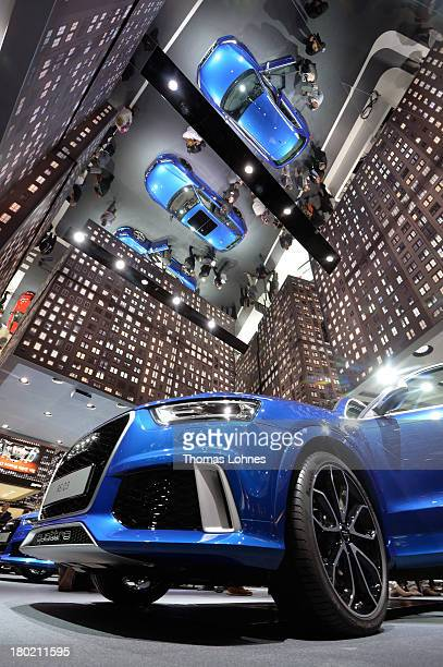 Audi cars reflect in the mirror unter the ceiling at the IAA international automobile show on September 10 2013 in Frankfurt Germany The world's...
