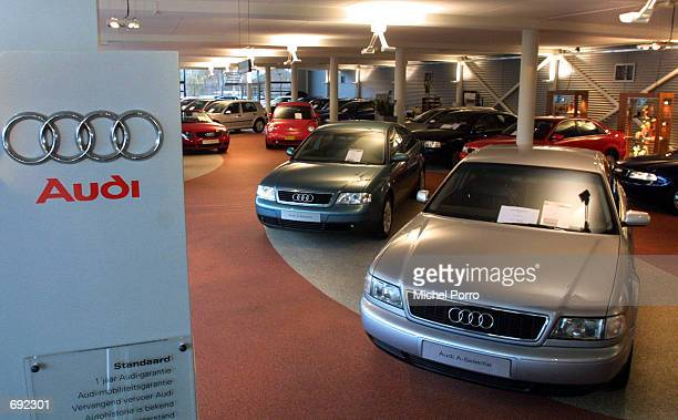 Audi cars sit in a showroom January 10 2002 in Leiden The Netherlands The European Commisssion has indicated that car makers will no longer be able...