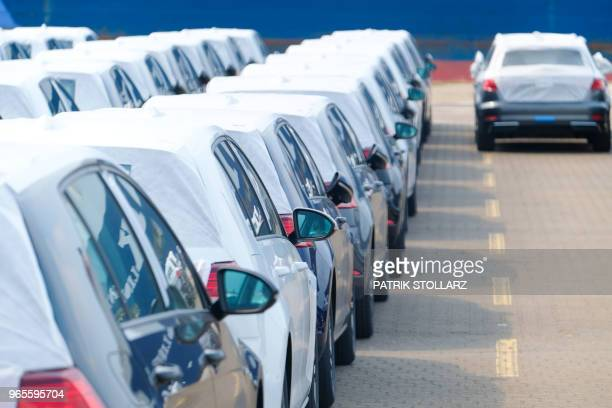 Audi cars wait to be shipped at the harbour in Bremerhaven nothern Germany on June 1 2018