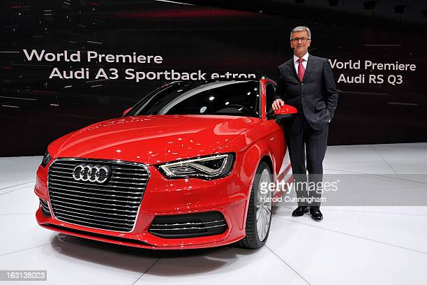 Audi CEO Rupert Stadler looks on as the Audi A3 Sportback etron is unveiled in world premiere during the 83rd Geneva Motor Show on March 5 2013 in...