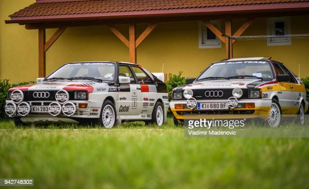 audi coupe quattro rally - rally car racing stock pictures, royalty-free photos & images