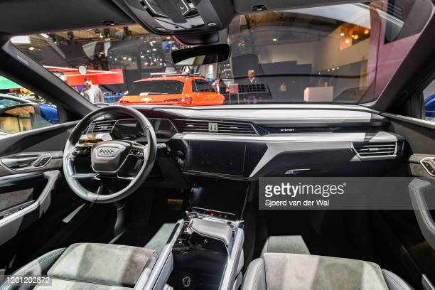 Audi e-tron 50 Quattro full electric luxury crossover SUV car interior on display at Brussels Expo on January 9, 2020 in Brussels, Belgium. The Audi...