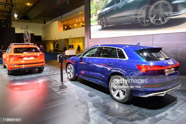 Audi etron 50 Quattro full electric luxury crossover SUV car on display at Brussels Expo on JANUARY 09 2020 in Brussels Belgium The Audi quattro...