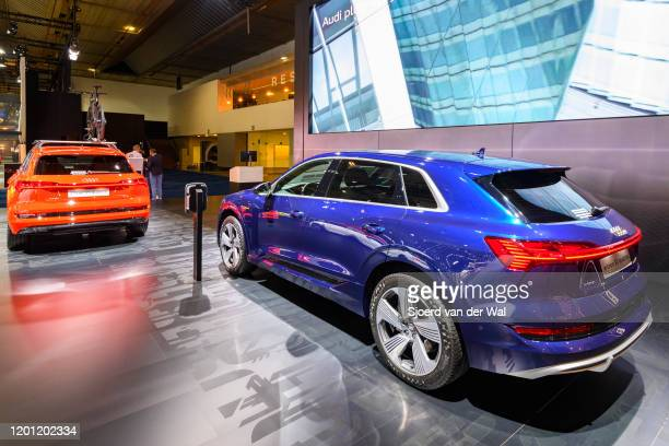 Audi e-tron 50 Quattro full electric luxury crossover SUV car on display at Brussels Expo on January 9, 2020 in Brussels, Belgium. The Audi quattro...