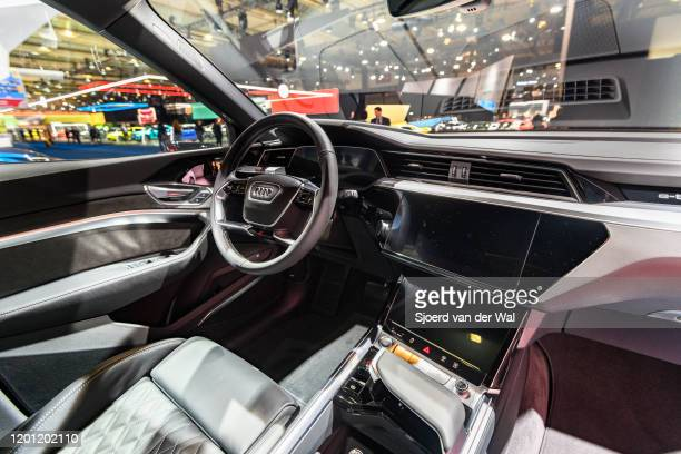 Audi etron 55 Quattro full electric luxury crossover SUV car interior on display at Brussels Expo on January 9 2020 in Brussels Belgium The Audi...