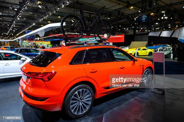 Audi etron 55 Quattro full electric luxury crossover SUV car on display at Brussels Expo on JANUARY 09 2020 in Brussels Belgium The Audi quattro...