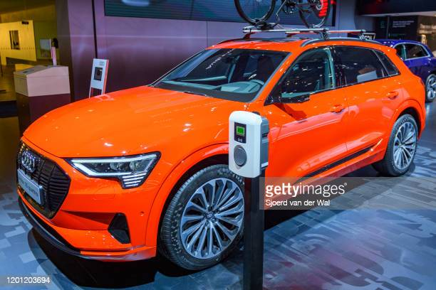 Audi etron 55 Quattro full electric luxury crossover SUV car on display at Brussels Expo on January 9 2020 in Brussels Belgium The Audi quattro...