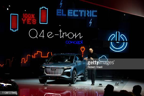 Audi eTron is displayed during the first press day at the 89th Geneva International Motor Show on March 5 2019 in Geneva Switzerland