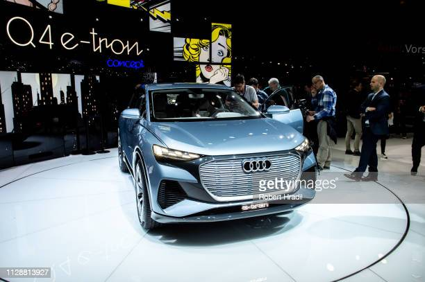 Audi ETron Q4 is displayed during the second press day at the 89th Geneva International Motor Show on March 5 2019 in Geneva Switzerland