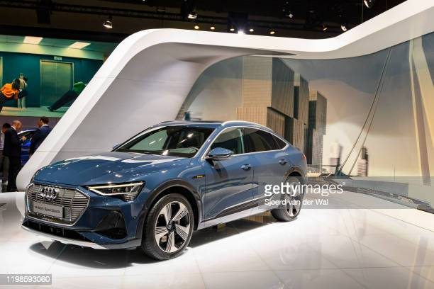 Audi etron Sportback full electric luxury crossover SUV car on display at Brussels Expo on JANUARY 09 2020 in Brussels Belgium The Sportback is a...