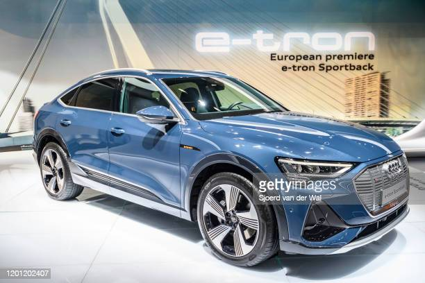 Audi etron Sportback full electric luxury crossover SUV car on display at Brussels Expo on January 9 2020 in Brussels Belgium The Sportback is a...