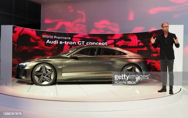 Audi head of design Marc Lichte speaks at the world premiere of the Audi ETron GT concept car at AutoMobility LA the trade show ahead of the LA Auto...