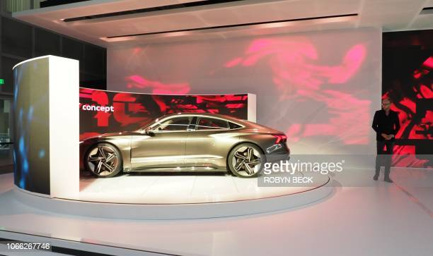 Audi head of design Marc Lichte unveils the Audi ETron GT concept car at AutoMobility LA the trade show ahead of the LA Auto Show November 28 at the...
