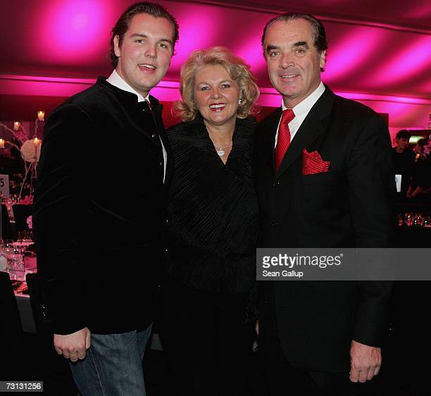 Audi marketing head Ralph Weyler his wife Birgit and son Stefan attend the Kitz Race Party after the Hahnenkamm slalom races January 27 2007 in...