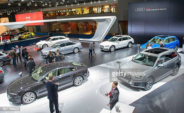 audi motor show stand - audi a6 stock photos and pictures